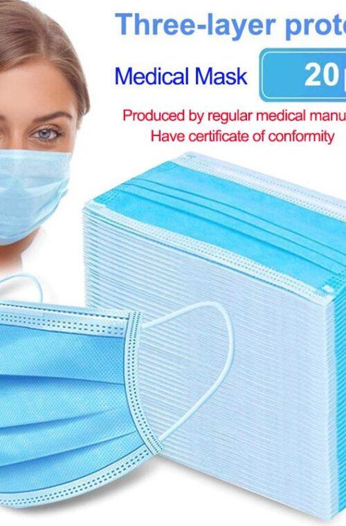 Anti-Coronavirus 3-Lagers Medicinska Skyddsmasker 20st