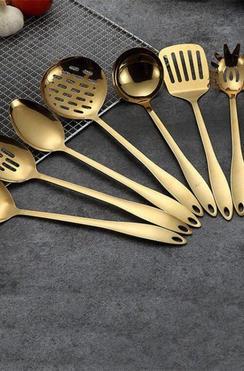 Guldfärgade Köksredskap