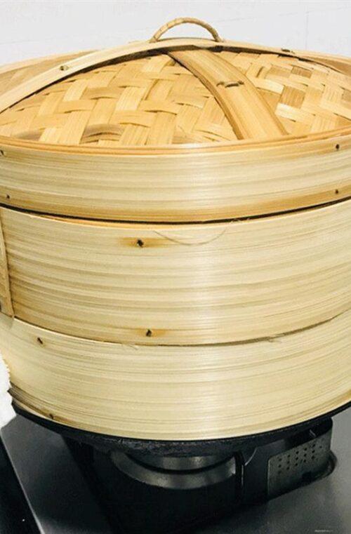 Äkta Kinesisk Bambu Ångkokare