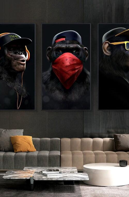 'Gangster Monkeys' Canvas Poster Väggdekor