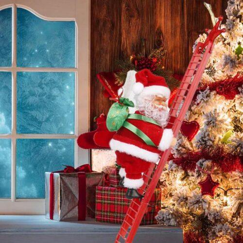 Jultomten Klättrar på Stege