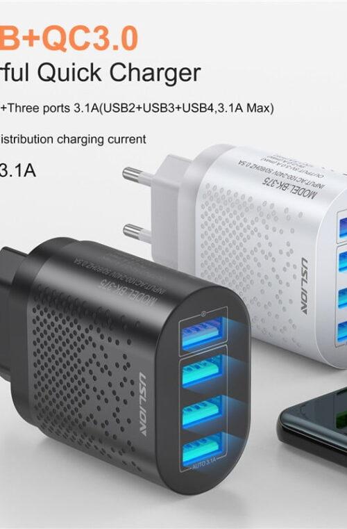 USB Snabbladdare med 4 Portar