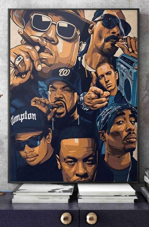Rappare Canvas Poster Väggdekor